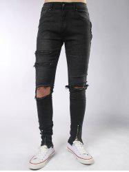 Zips Embellished Skinny Distressed Jeans