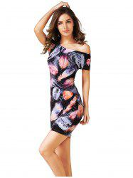 Skew Collar Feather Printed Dress