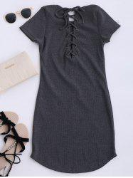 Lace Up Mini robe pull - Gris Taille Unique