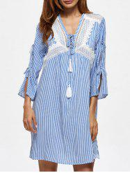 Lace Insert Striped Mini Shift Dress