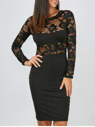 Lace Panel Long Sleeve Pencil Dress