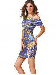 Skew Collar Printed Dress