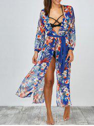 Floral Slit Long Beach Kimono Flowy Cover Up - BLUE