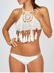 Tassel High Neck Halter Crochet Bikini Top