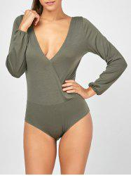 Plunging Neck Surplice Long Sleeve Bodysuit
