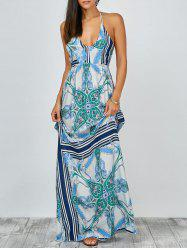 Halter Plunge Open Back Print Boho Casual Dress - LIGHT BLUE XL
