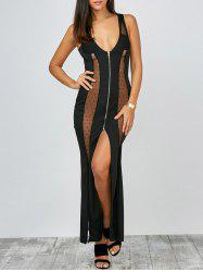 Plunge Slit Zipper Front Sheer Club Maxi Dress - BLACK