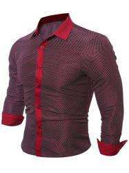 Contraste Polka Dot trim Shirt - Rouge