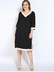 V Neck Side Slit Plus Size Dress