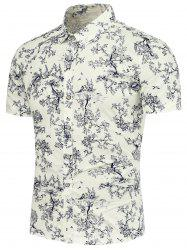 Trees and Bird Pattern Short Sleeves Shirt