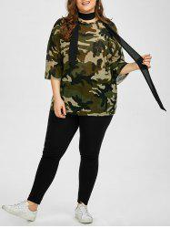 Chiffon Camo Plus Size Top