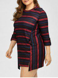 Plus Size Asymmetric Striped Mini Casual Dress