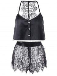 Button Up Crop Top with Lace Shorts - BLACK 5XL