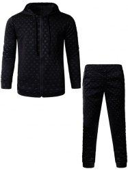 3D Geometric Emboss Zip Up Hoodie and Pants Twinset