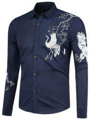 Crane Pattern Long Sleeves Shirt