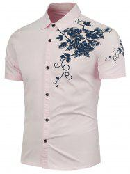 Rose Printed Short Sleeves Shirt