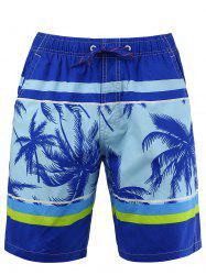 Pocket Tropical Print Beach Shorts