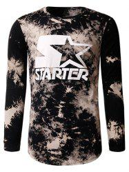 Tie Dye Star Print Crew Neck Long Sleeve T-Shirt