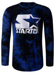 Tie Dye Star Print Crew Neck Long Sleeve T-Shirt - BLUE