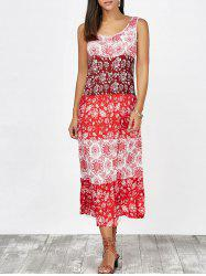 Boho Floral Tea Length Sleeveless Beach Dress - RED