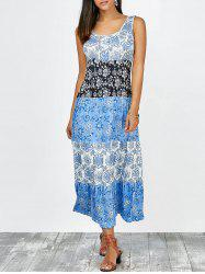 Floral Tea Length Sleeveless Dress - BLUE