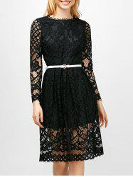 Knee Length Lace A Line Dress With Sleeves