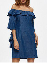 Off The Shoulder Flounce Chambray Shift Dress
