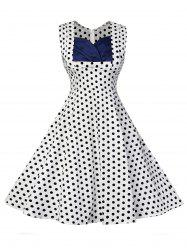 Vintage Polka Dot Fit and Flare Dress - WHITE 2XL