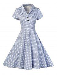 Buttoned Polka Dot V Neck Skater Dress - BLUE