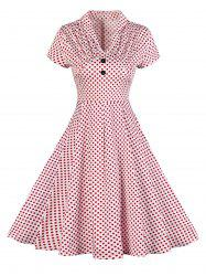 Buttoned Polka Dot V Neck Skater Dress