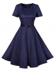 Vintage Short Sleeve Swing Skater Dress - CERULEAN L