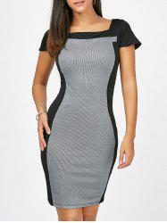 Square Collar Striped Bodycon Dress - BLACK