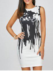 Abstract Print Sleeveless Pencil Dress - WHITE
