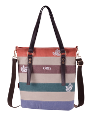Canvas Color Block Shoulder Bag