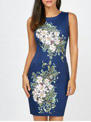 Short Bodycon Sleeveless Floral Dress - CERULEAN XL