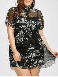 Plus Size Floral See Through Blouse with Camisole - BLACK 2XL