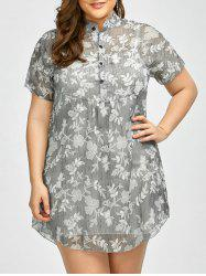 Plus Size Floral See Through Blouse with Camisole