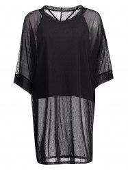 Plus Size Sheer Mesh Tunic With Spaghetti Top