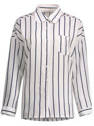Plus Size Drop Shoulder Stripe Button Up Shirt