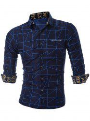 Faux Pocket Geometric Printed Casual Shirt