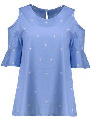 Plus Size Star Flounce Cold Shoulder Blouse