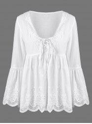 Flare Sleeve Scalloped Edge Lace Up Blouse - WHITE