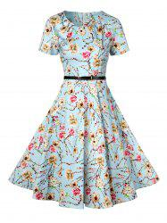 Retro Knee Length Pin Up Dress - AZURE 2XL