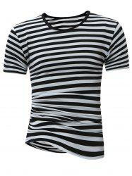 Crew Neck Stripe Tee - WHITE AND BLACK
