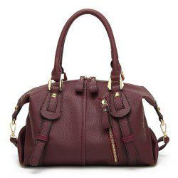 Straps Detail Textured Faux Leather Tote Bag