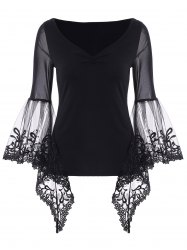 V Neck Bell Sleeve Sheer Lace Panel T-Shirt - BLACK S