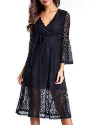Surplice Lace Swing A Line Dress