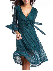 V Neck Midi Lace A Line Dress With Sleeves