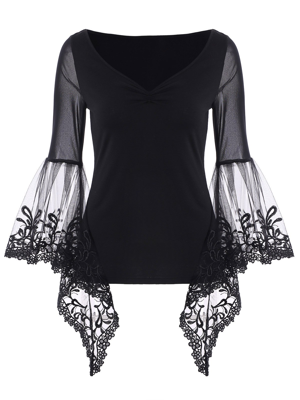 Shops V Neck Bell Sleeve Sheer Lace Panel T-Shirt