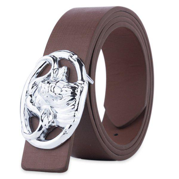 Sale Hollow Out Engraved Buckle Faux Leather Belt